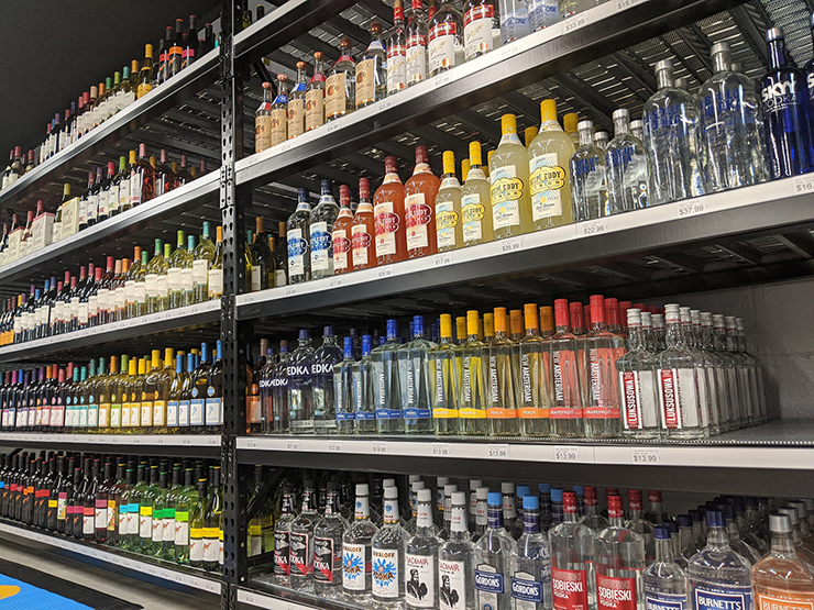 We have a wide selection of vodka, whiskey, and tequila...